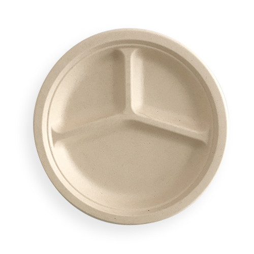 Wheat Straw Three Compartment Plate
