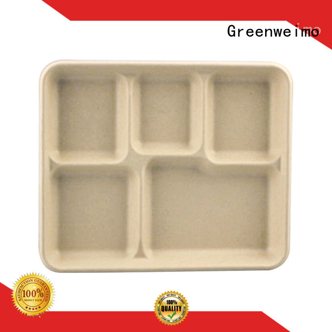 Greenweimo compartment biodegradable meat trays manufacturers for hot food