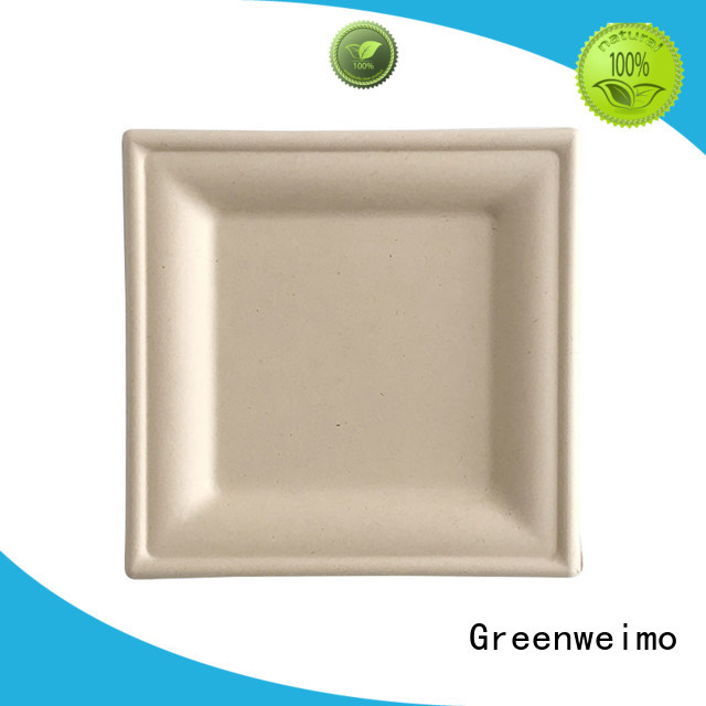 Greenweimo material square disposable plates Supply for wet food