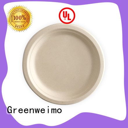 Greenweimo compostable bagasse plate compartment for hotel