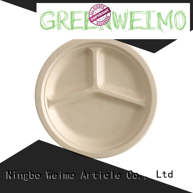 Greenweimo compartment biodegradable wedding plates manufacturers for wet food