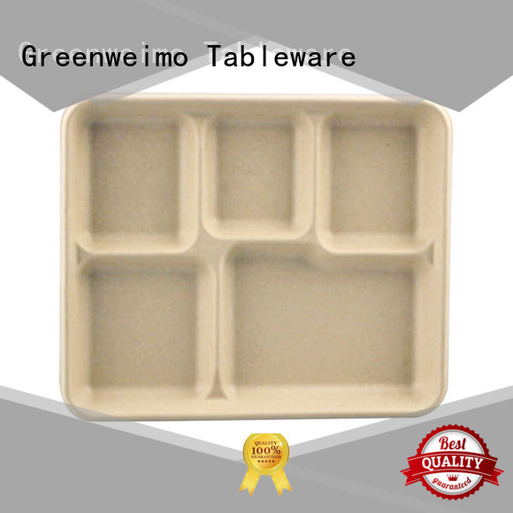 Greenweimo sugarcane lunch tray for business for oily food