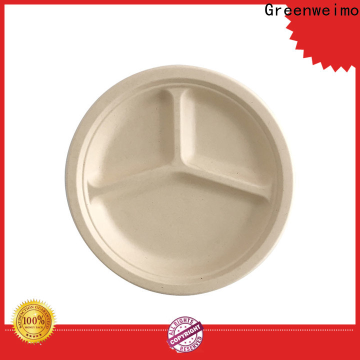 Greenweimo compartment sugarcane disposable plates Suppliers for oily food
