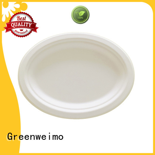 Greenweimo disposables sugarcane plates manufacturers for oily food
