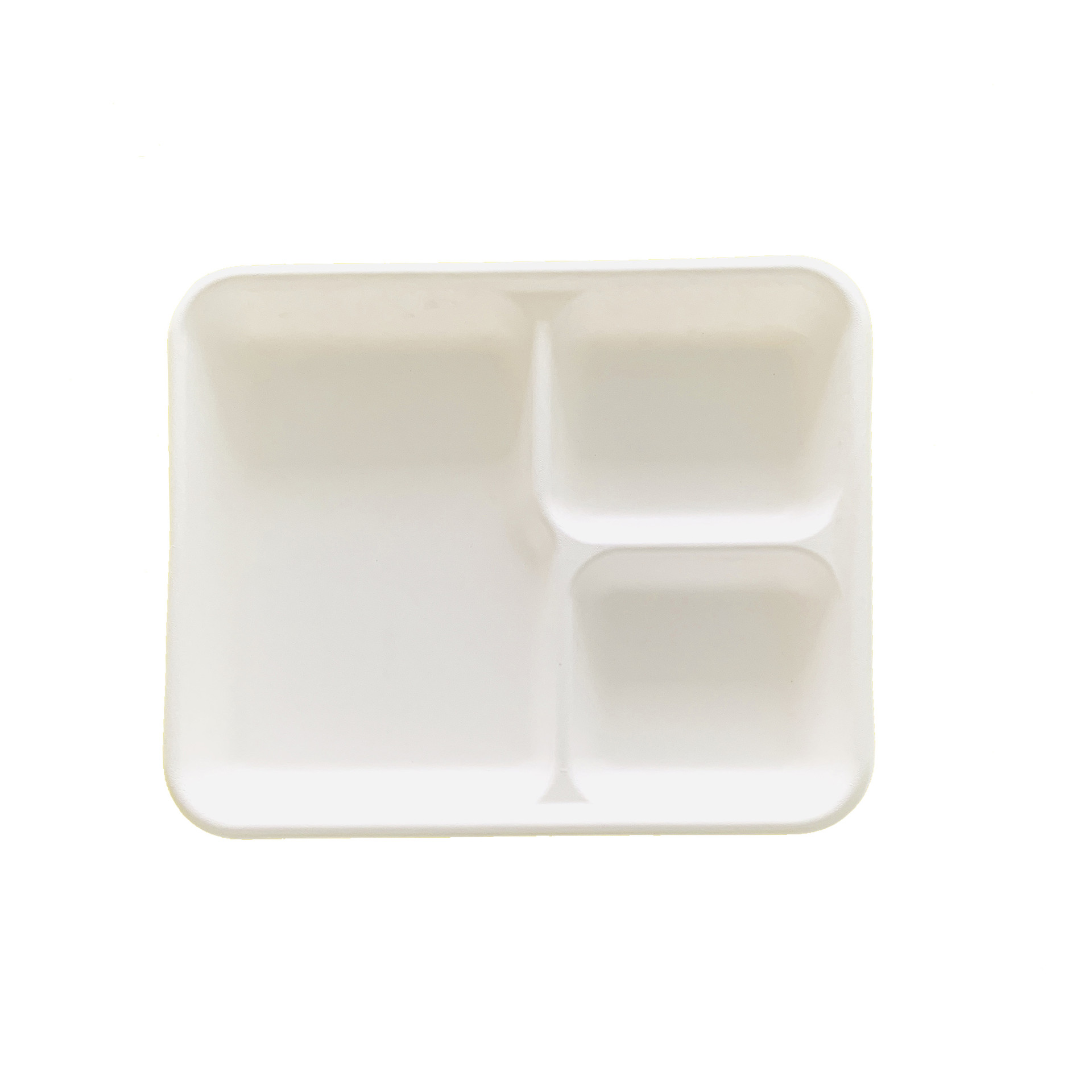 3 Divided Biodegradable Compartment Sugarcane Bagasse White Tray
