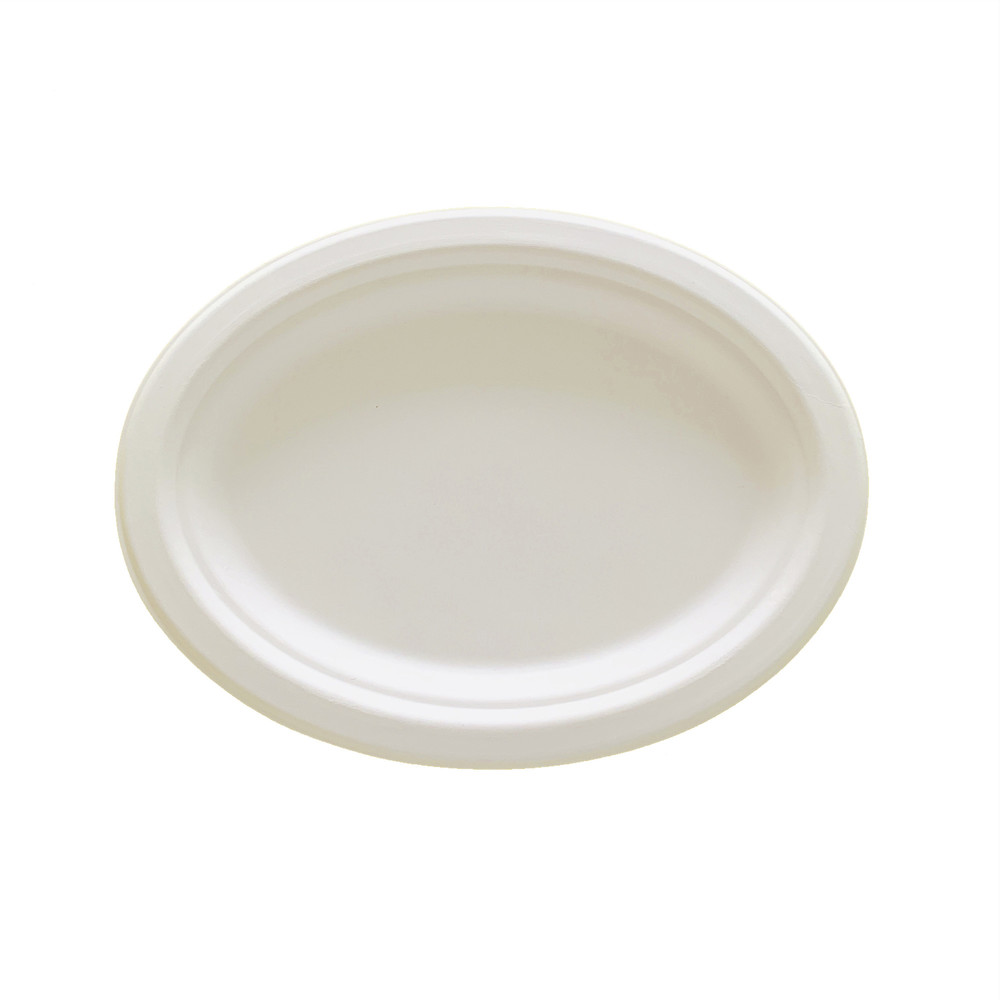 Sugarcane Ellipse Oval Food Plate Bagasse Biodegradable Material